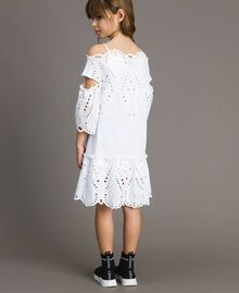 Muslin dress with broderie anglaise embroidery White Child 191GJ2620-03