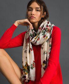 Lurex band scarf with floral print Ecru Meadow Print Woman 192TA4422-0S