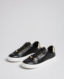 Leather trainers with contrasting details Black Woman 192TCP06E-01