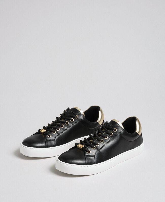 Sneakers aus Leder mit Kontrastdetail Weiß Frau 192TCP06E-01