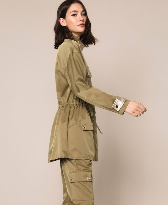 Parka coat with laminated faux leather details