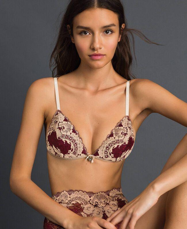 Soutien-gorge triangle ampliforme en dentelle bicolore Rouge Violet / Beige Foncé Femme 192LL6D11-01