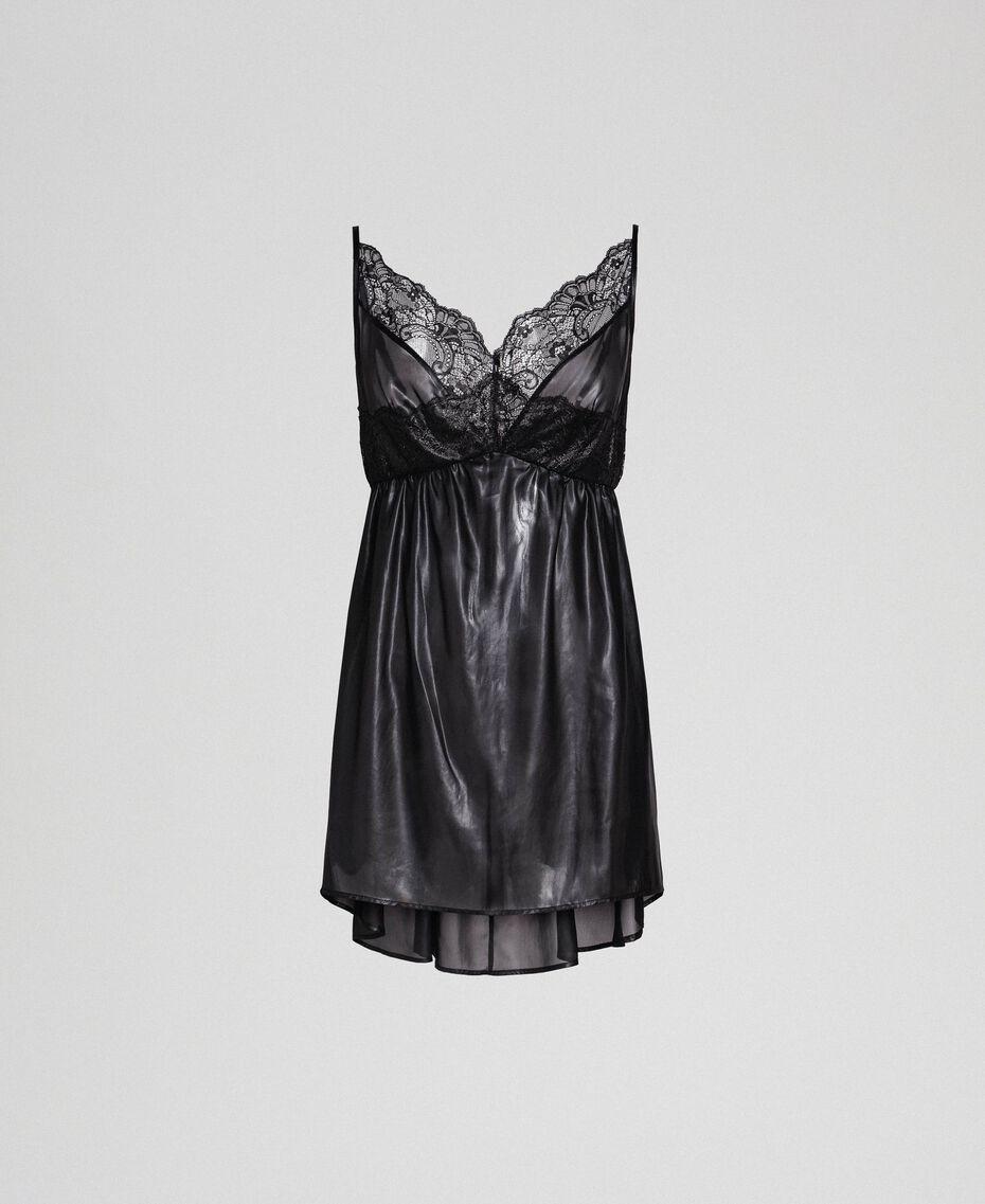 Laminated chiffon babydoll with lace Black Woman 192LL2HBB-0S