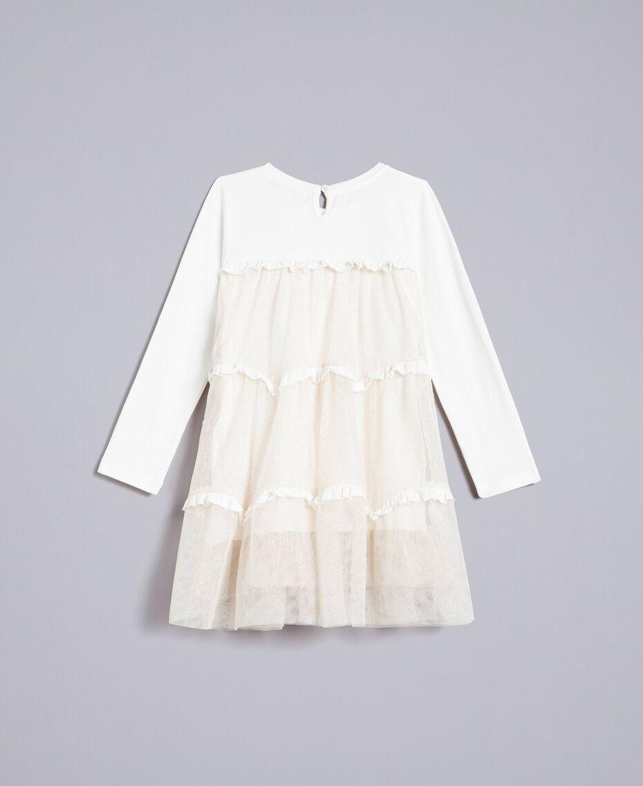 Abito in jersey e tulle Bicolor White / Lurex Oro Bambina FA82L2-0S