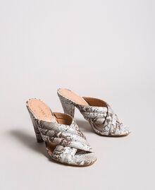 Scarpe mules in pelle animal print Stampa Pitone Ghiaccio Donna 191TCP134-01