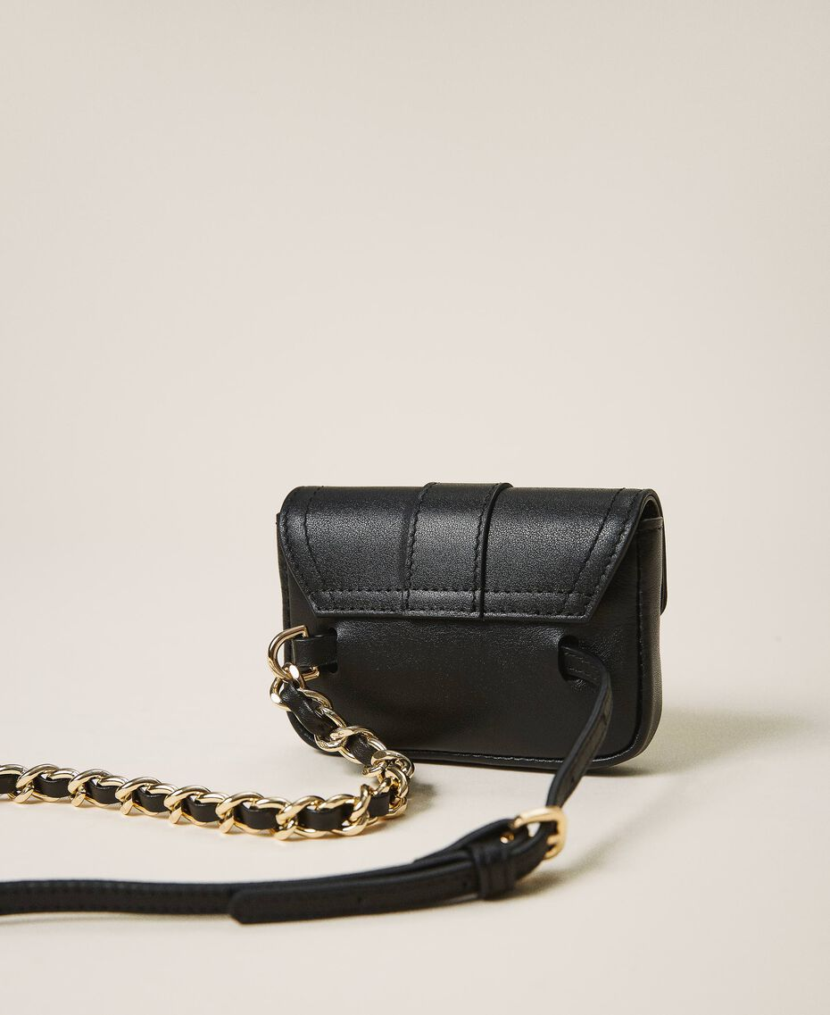 Belt with chain and Mini Rebel purse Black Woman 202TA434B-03