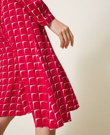 "Crêpe de Chine shirt dress with bow ""Cerise"" Fuchsia /""Dew"" White Optical Print Woman 202ST2502-06"