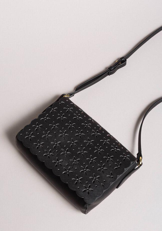 Faux leather floral shoulder bag
