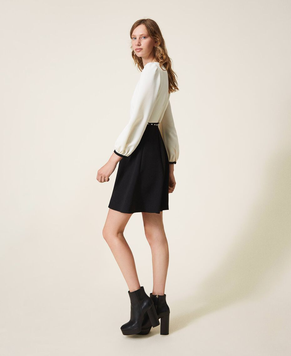 Two-tone crêpe dress with belt Two-tone Parchment White / Black Woman 202TT2337-02