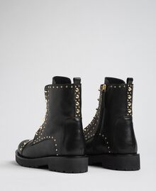 Leather combat boots with studs Black Woman 192TCP018-02