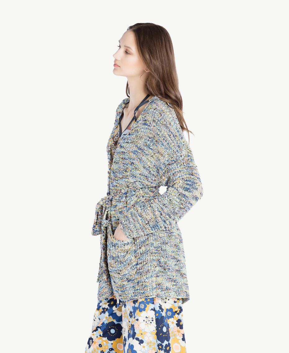 Oversized cardigan Multicolour Printed Yarn Woman SS83CB-02
