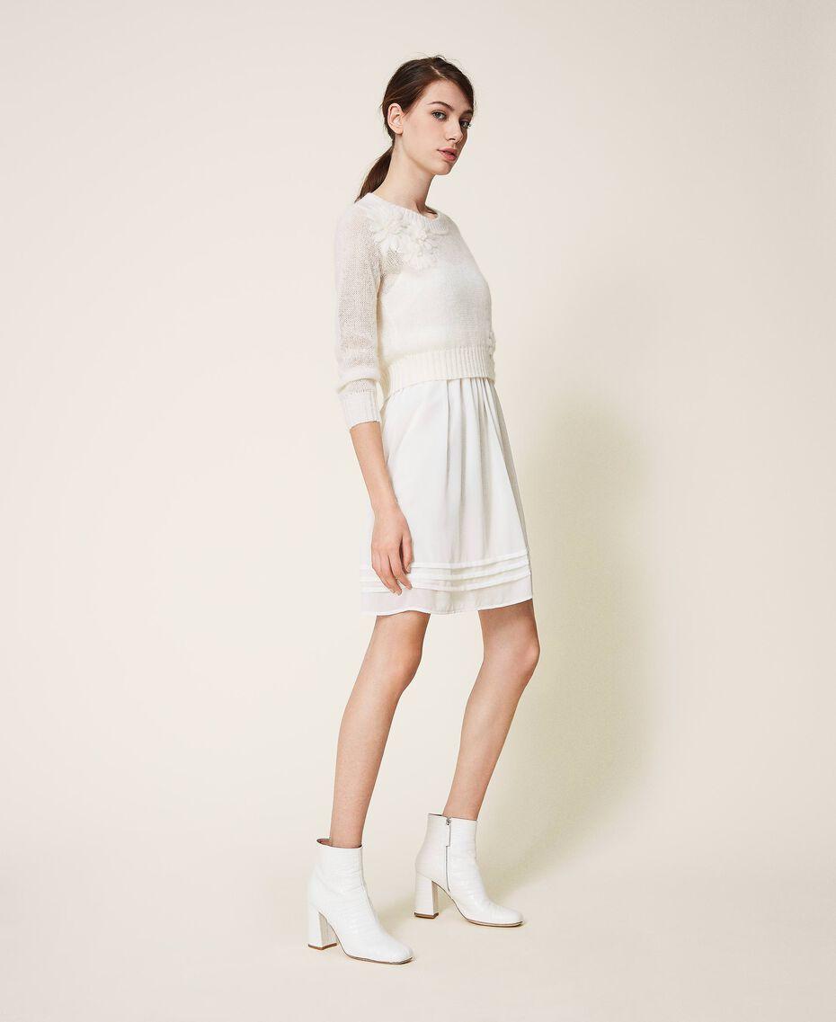Vestido lencero y jersey de mohair Blanco Nata Mujer 202TP3262-01