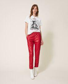 Pantalon cigarette en similicuir Rouge Terre cuite Femme 202LI2GDD-02
