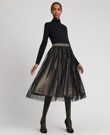 Metal effect midi skirt with tulle Black Gold Woman 192MT2190-01