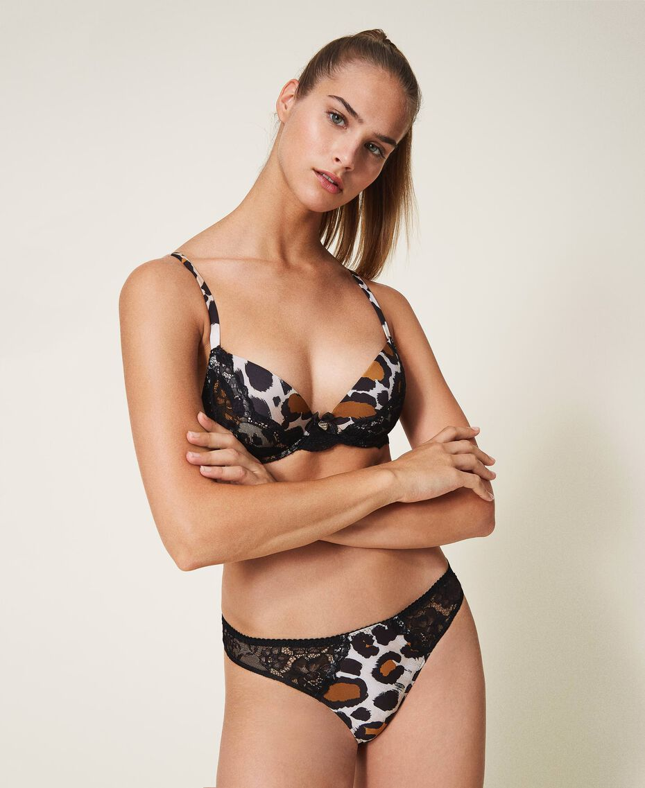Printed push-up bra with lace Animal Print Woman 202LL6E44-01