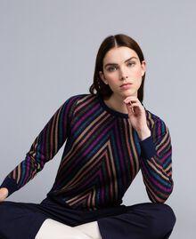 Pullover aus Lurexjacquard mit mehrfarbigem Streifenmuster Jacquard Blau / Lurexstreifen Frau TA838C-01
