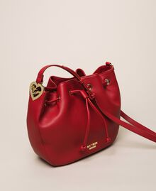 Faux leather bucket bag with scarf Venetian Red Woman 201MA7082-04