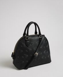 Faux leather heart print bawling bag Black Woman 192MA7011-03