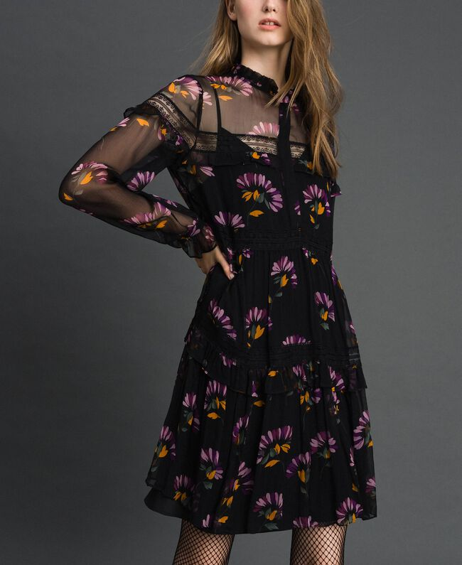 Camouflage and floral print dress Black Flowers Print Woman 192TT2122-04