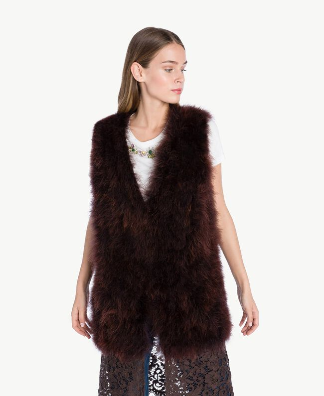 Long fur waistcoat Dark Brown Female PA72RN-04