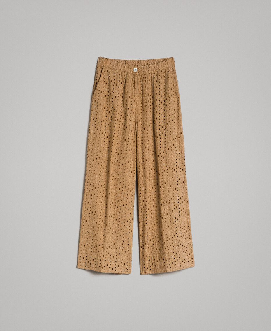 """Voile trousers with broderie anglaise embroidery """"Savannah"""" Beige Woman 191ST2115-0S"""
