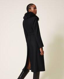 Manteau en drap de cachemire mélangé Noir Femme 202TT214A-03