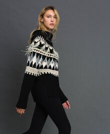 Jacquard jumper with embroideries and feathers Black Fair Isle Jacquard Woman 192TT3311-02
