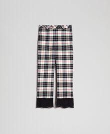 Расклешенные шерстяные брюки в клетку Снежно-Белый Жаккардовый Тартан женщина 192TP2622-0S