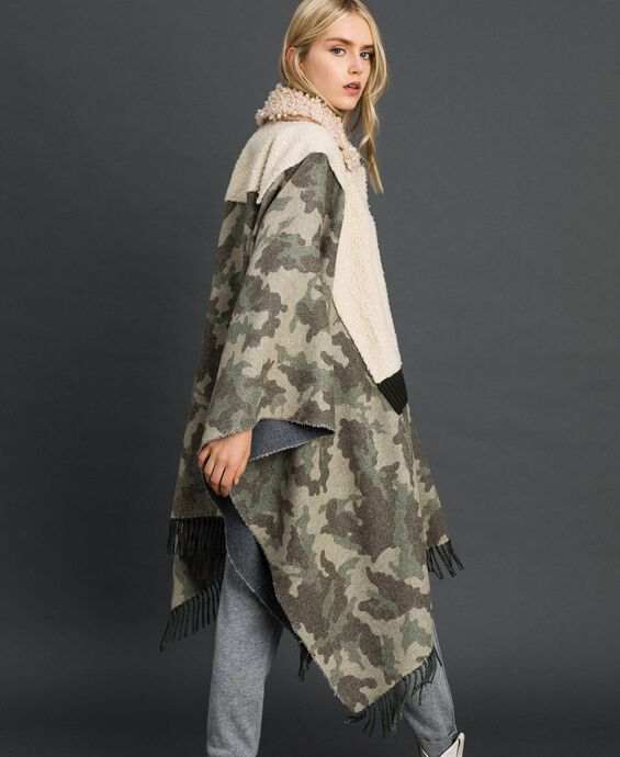 Camouflage wool cloth and bouclé cape