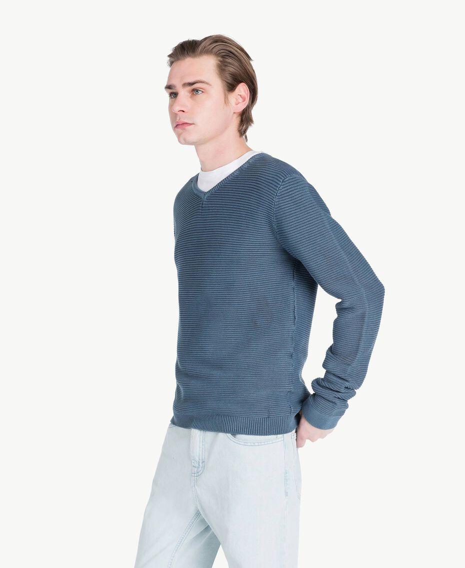 Pullover aus Baumwolle Blackout Stone Blau Mann US833Q-02