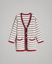 """Cardigan en maille ajourée Multicolore Écru / Rouge """"Coquelicot"""" / Ombre Bleue Femme 191ST3091-0S"""