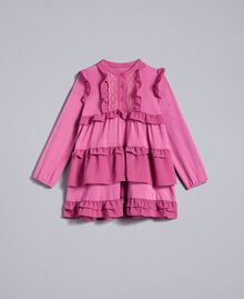 Kleid aus Georgette mit Volants Rosa Bouganville Kind FA82H1-01