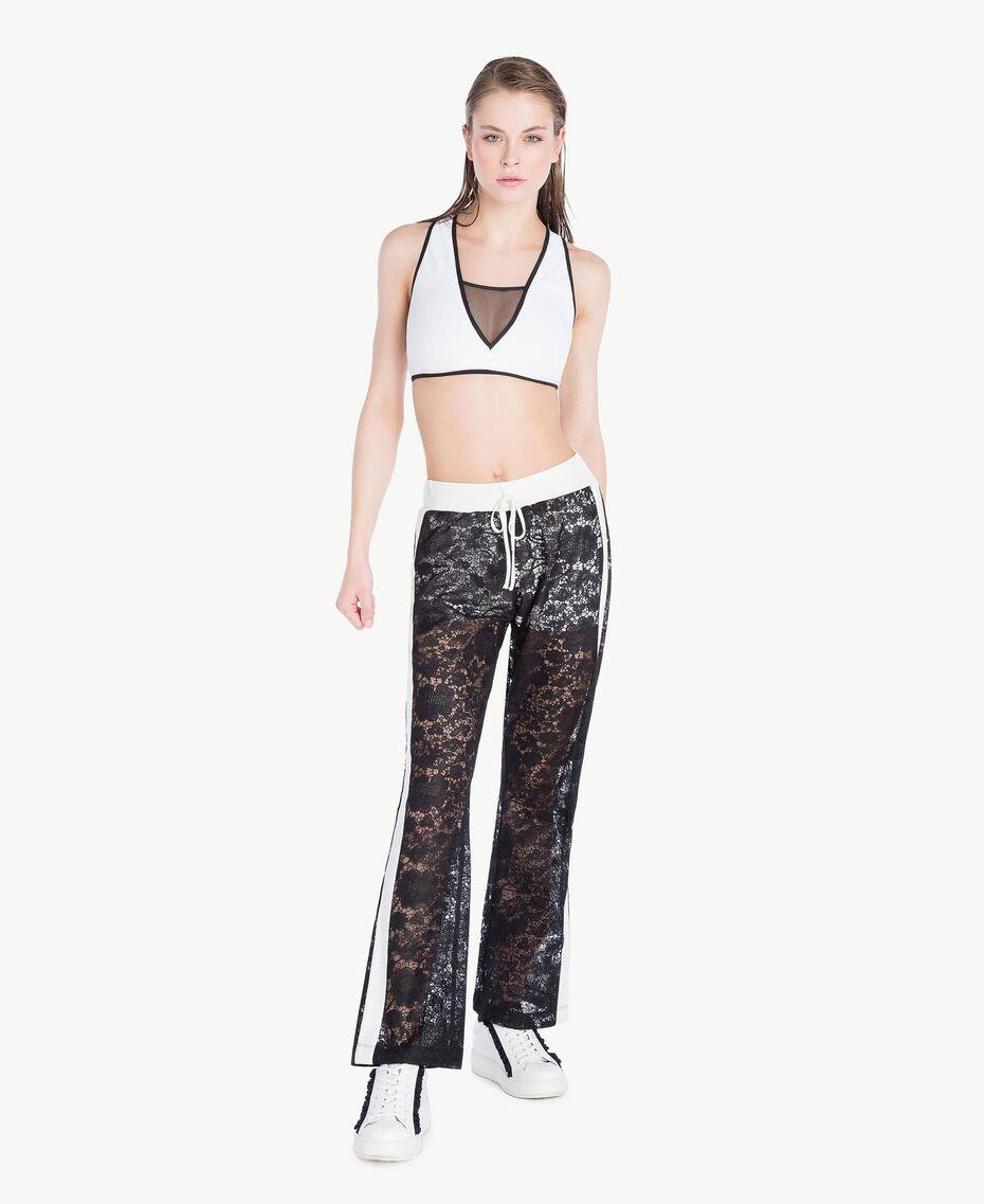 Pantalon dentelle Bicolore Noir / Blanc Optique Femme LS89CC-02