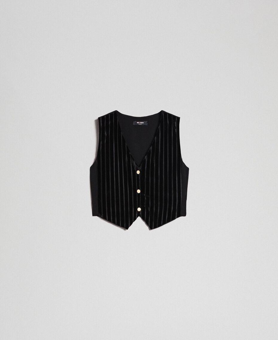 Dévoré velvet cropped waistcoat Black Woman 192MP2251-0S