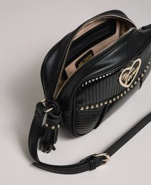 Faux leather shoulder bag with studs and tassel Black Woman 192MO8012-05