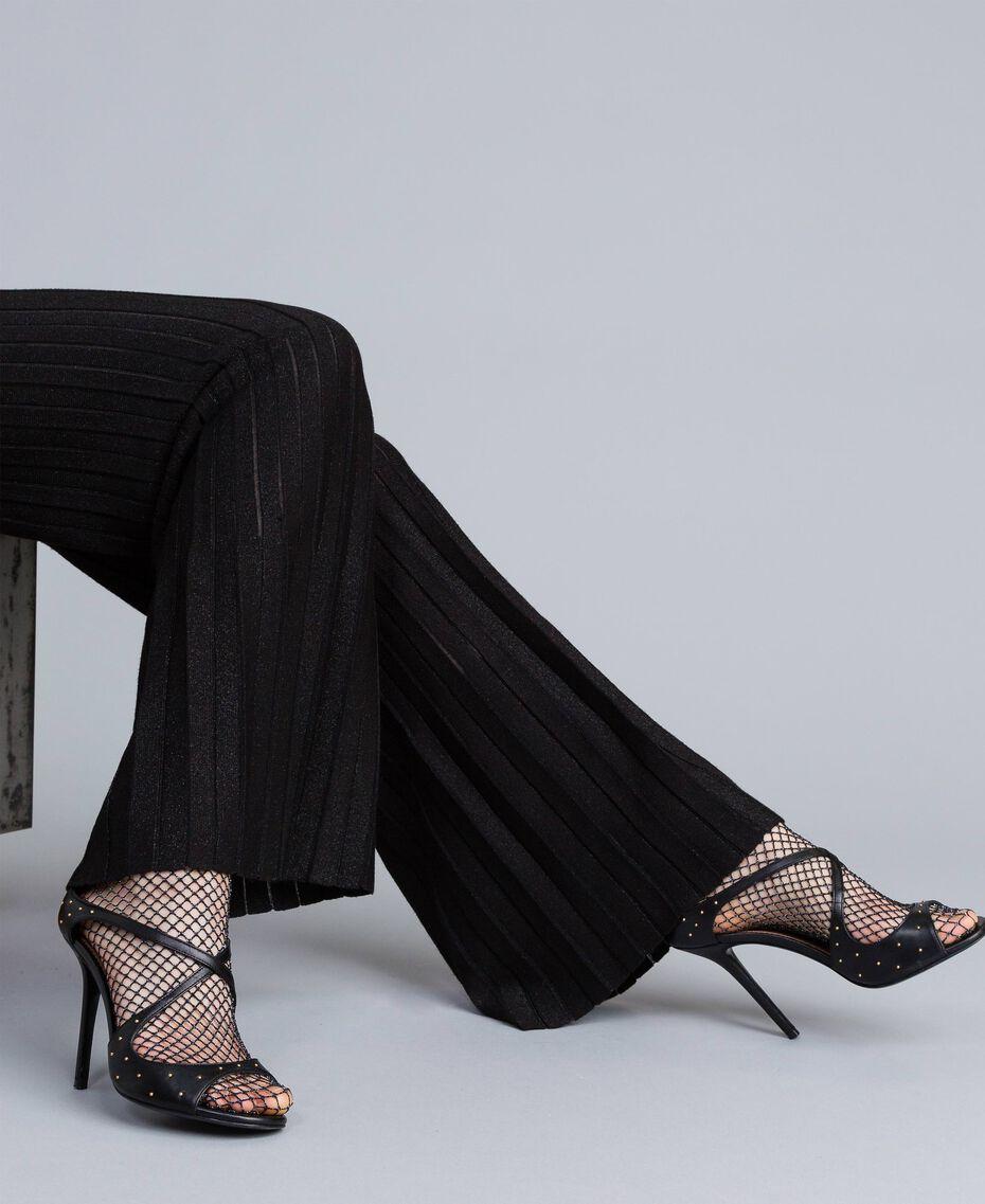Pantaloni ampi in maglia plissé lurex Nero Lurex Donna PA83CE-05