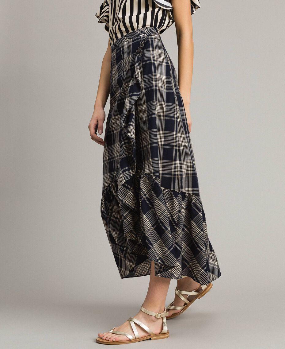 Long check cotton skirt Blue Shadow Check Jacquard Woman 191ST2133-02