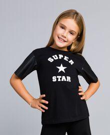T-shirt en coton avec imprimé Noir Enfant GA82B3-04