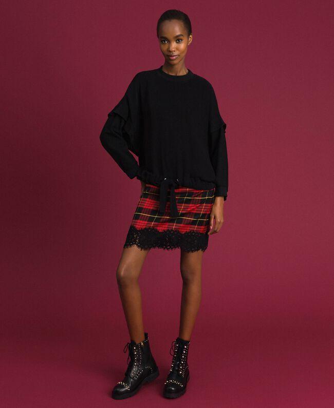 Jupe taille haute en laine à carreaux Jacquard Tartan Grenadier Femme 192TP2624-0T
