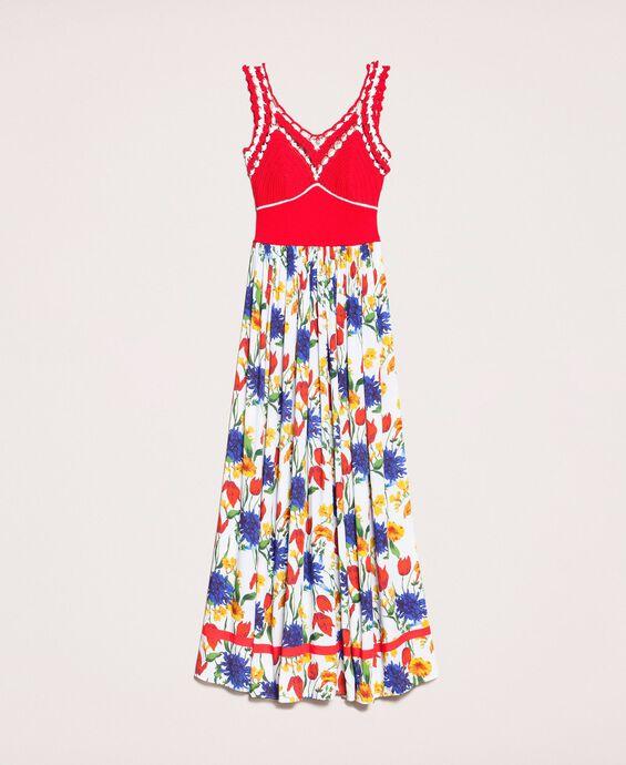 Robe longue en crochet avec imprimé floral