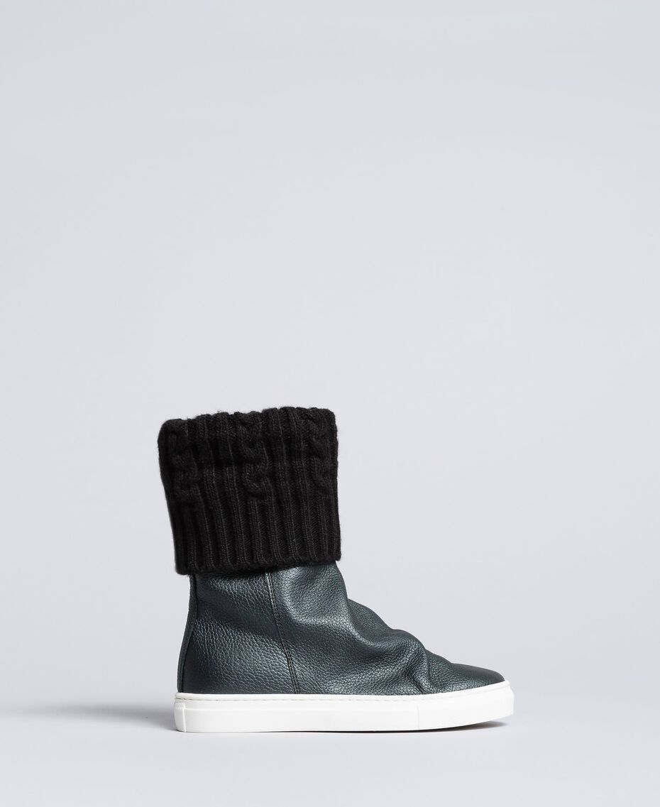 Leather and knit boot sneakers Black Child HA88B3-02