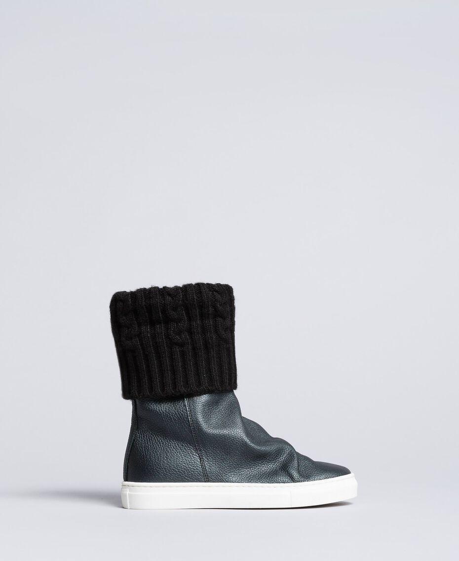 Sneakerboots aus Leder und Strick Schwarz Kind HA88B3-02
