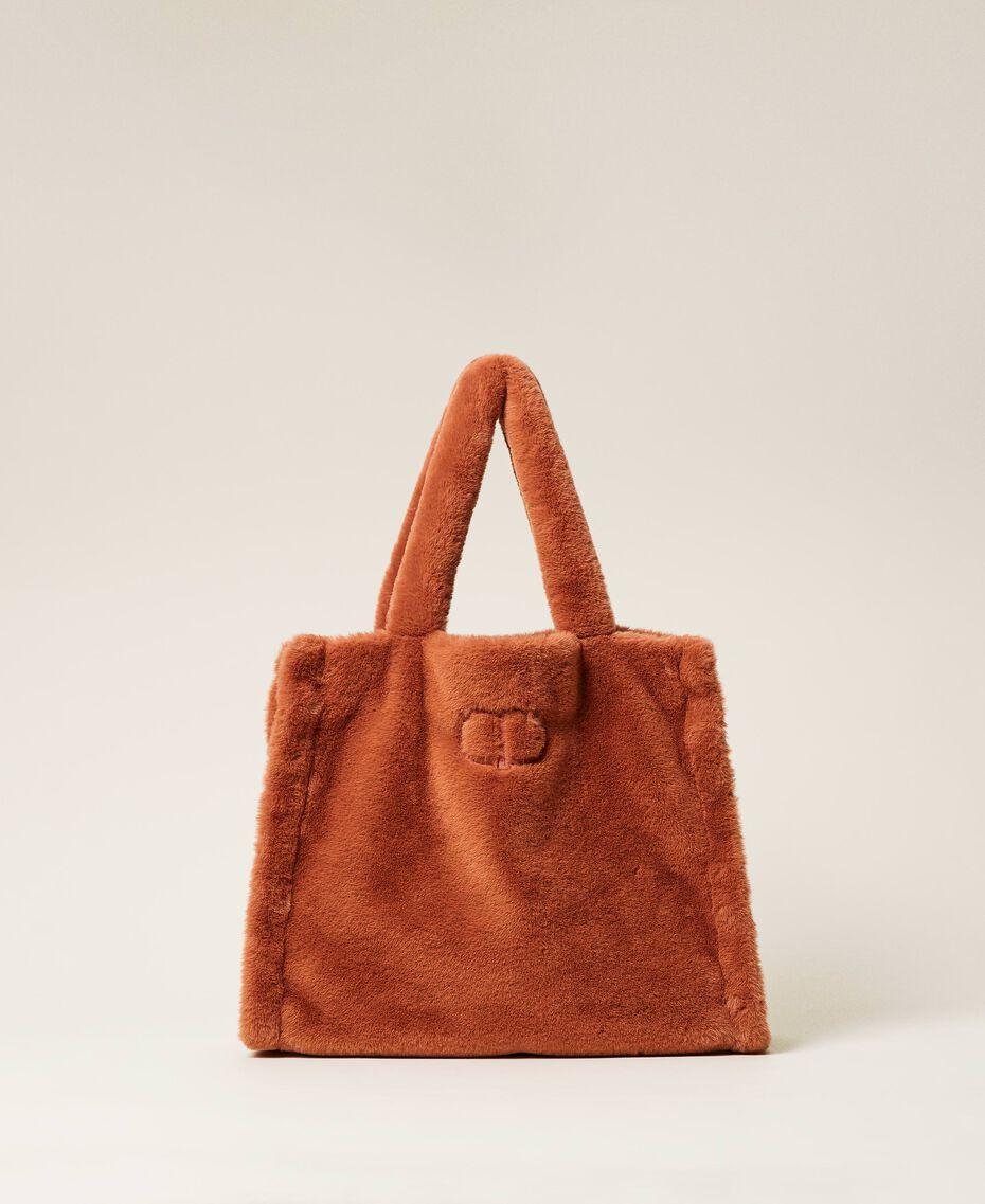 """Plush shopper with logo """"Tan Powder"""" Brown Woman 212TB7350-01"""