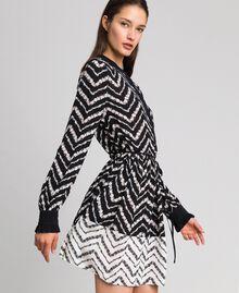 """Chevron floral print shirt dress Black / """"Snow"""" Chevron Print Woman 192TP2523-02"""