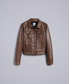 Jacke aus Lederimitat mit Nieten Mahagoni Bordeaux Frau YA82BC-0S