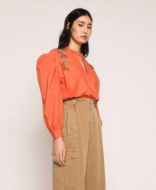 Blouse en popeline brodée Orange Parrot Femme 201TT2130-02