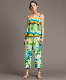 Pantalon en marocaine à imprimé floral Imprimé Jardin Noir Femme 191TT2471-01