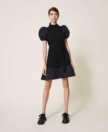 Kleid aus Wollmischung und Taft Schwarz Frau 202TP3251-03
