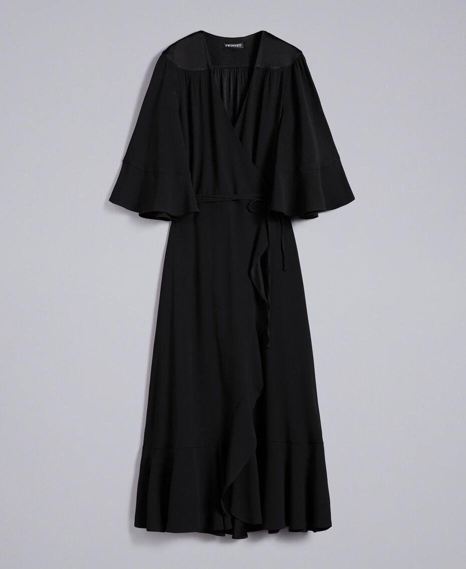 Envers satin mid-length dress Black Woman TA824B-0S
