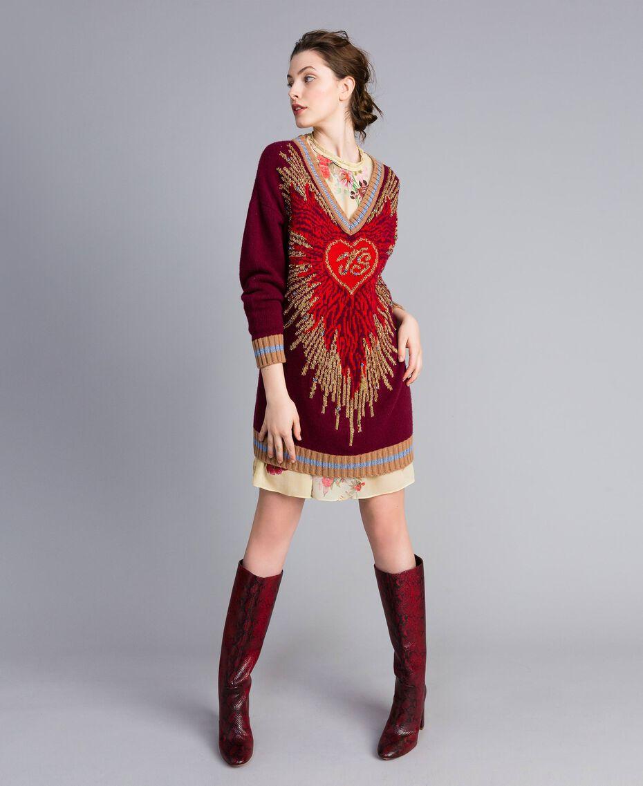 Jacquard wool blend dress Bordeaux Woman PA83HQ-01